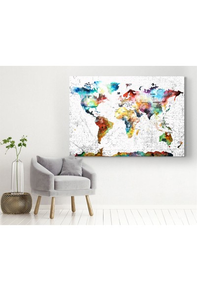 Meteor Galeri Renkli Dünya Haritası Kanvas Tablo
