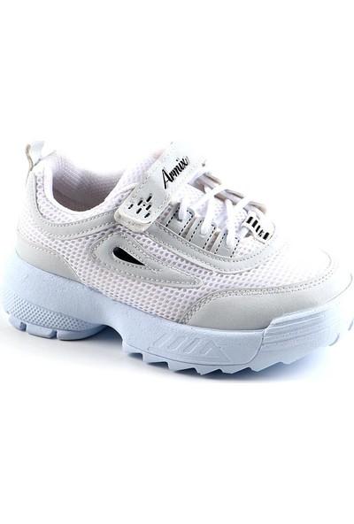 Armix Beyaz Günlük Fileli Yürüyüş Erkek Çocuk Spor Ayakkabı