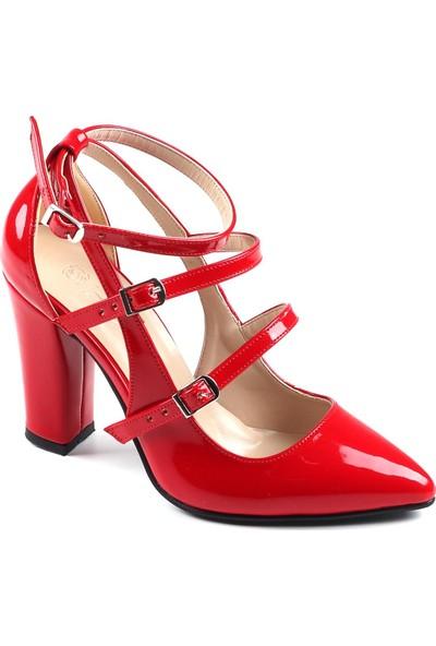 Föz Kırmızı Rugan Kadın Topuklu Ayakkabı