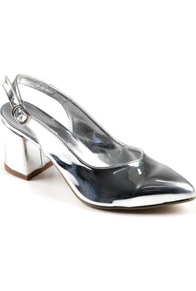 Föz Gümüş Arkası Açık Kadın Topuklu Ayakkabı