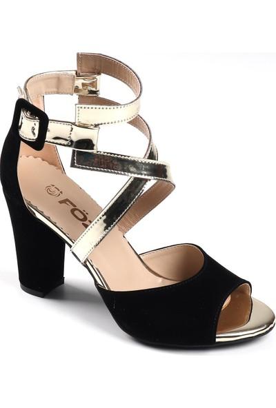 Föz Siyah Süet Kadın Topuklu Ayakkabı