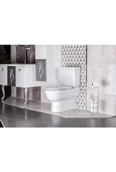 Banyo Tuvalet Kağıdı Askısı Yedekli Ayaklı