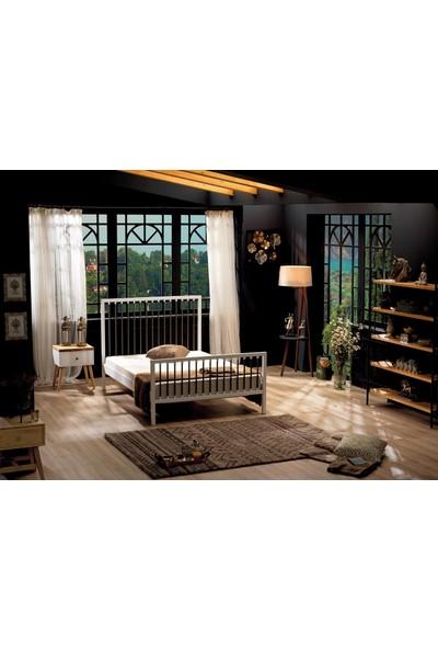 Unimet Breeze Tek Kişilik Metal Karyola 90 x 200 Beyaz Kahverengi