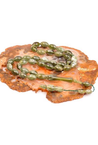 Taş Sandığı Yeşil Renk Sıkma Kehribar Tesbih ( 7*11 Mm )