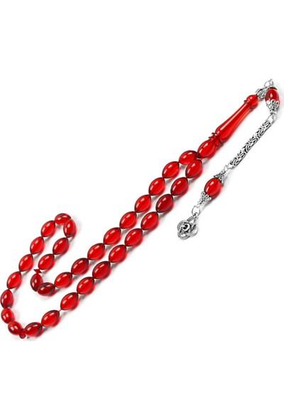 Takı Plus Gümüş 925 Ayar Püsküllü Kırmızı Ateş Kehribar Tesbih