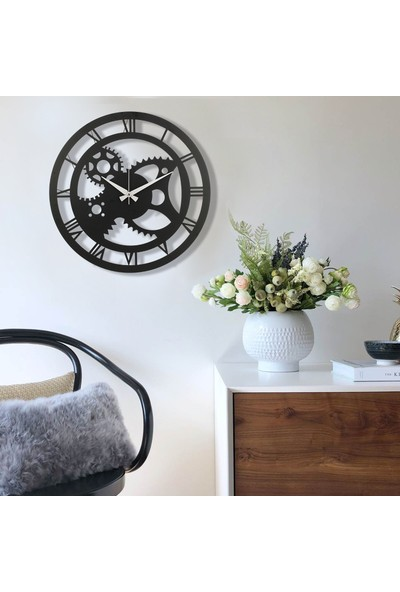 Muyi̇ka İndus Metal Siyah Duvar Saati 50 x 50 cm