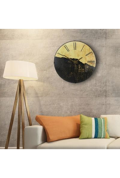 Muyi̇ka Giallo Nero Oval Ön Kısım Eskitme Sarı Siyah 36 cm Duvar Saati