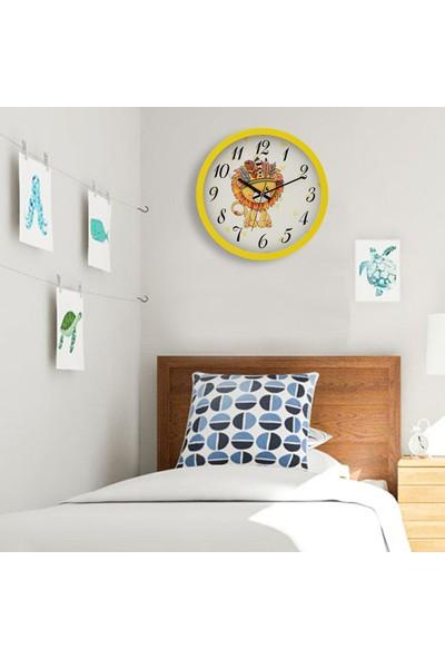 Muyi̇ka Leone Sarı Çerçeveli Çocuk Odası Duvar Saati 30 cm