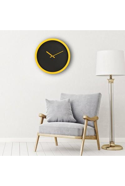 Muyi̇ka Airone Sarı Çerçeve Siyah Düz Zemin 30 cm Duvar Saati
