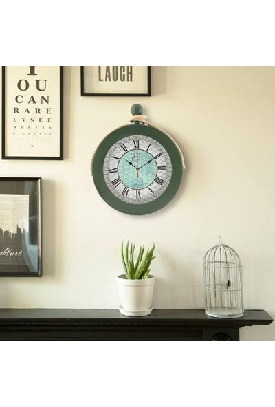 Muyi̇ka Ahşap Halatlı Nefti Yeşil Duvar Saati Roma Rakamlı 36 cm