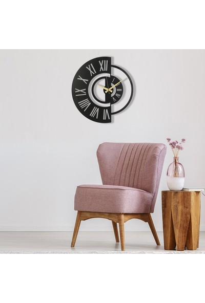 Muyi̇ka Ruota Metal Siyah Duvar Saati 50 x 50 cm