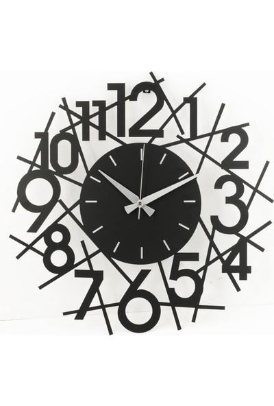 Muyika Lienal Metal Siyah Duvar Saati 50 x 50 cm
