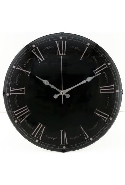 Muyi̇ka Pantera Nera Oval Ön Kısım Siyah Eskitme Roma Rakamlı 36 cm Duvar Saati
