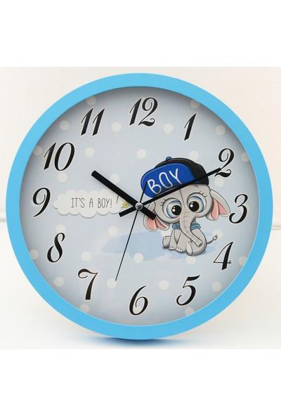 Muyi̇ka Elefcappello Açık Mavi Çerçeveli Çocuk Odası Duvar Saati 30 cm