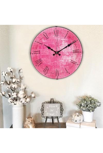 Muyi̇ka Rosanella Oval Ön Kısım Pembe Roma Rakamlı 36 cm Duvar Saati