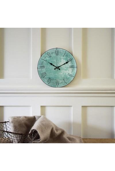 Muyi̇ka Verde Oval Ön Kısım Nefti Yeşil Roma Rakamlı 36 cm Duvar Saati
