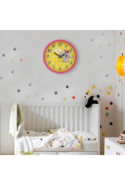 Muyi̇ka Nastri Pembe Çerçeveli Çocuk Odası Duvar Saati 30 cm