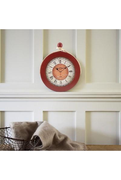 Muyi̇ka Ahşap Halatlı Kırmızı Duvar Saati Roma Rakamlı 36 cm