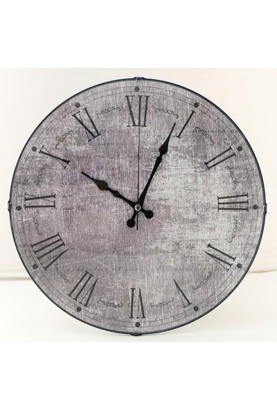 Muyi̇ka Grigio Oval Ön Kısım Gri Roma Rakamlı 36 cm Duvar Saati