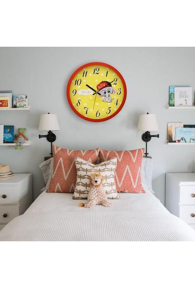 Muyi̇ka Mashio Kırmızı Çerçeveli Çocuk Odası Duvar Saati 30 cm