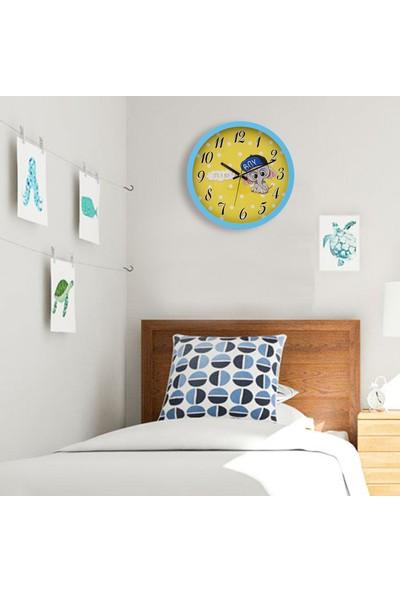 Muyi̇ka Elefantemas Mavi Çerçeveli Çocuk Odası Duvar Saati 30 cm