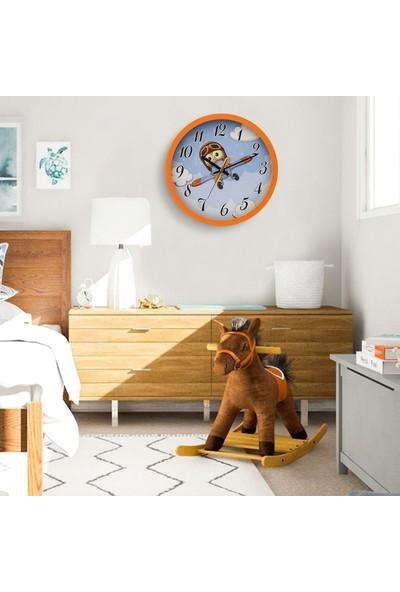 Muyi̇ka Gupilota Turuncu Çerçeveli Çocuk Odası Duvar Saati 30 cm