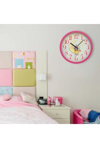 Muyi̇ka Banana Pembe Çerçeveli Çocuk Odası Duvar Saati 30 cm