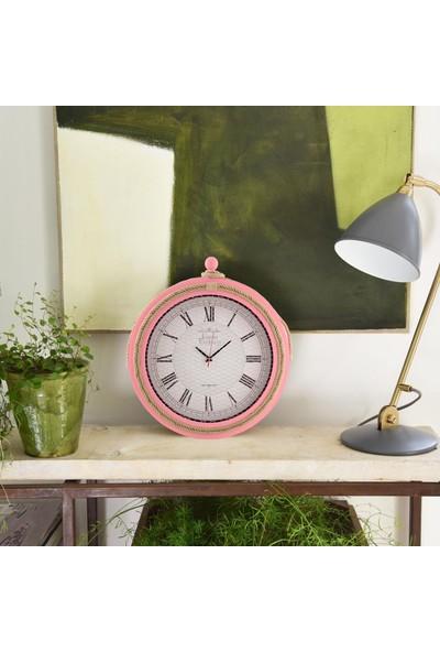 Muyi̇ka Ahşap Halatlı Pembe Duvar Saati Roma Rakamlı 50 cm