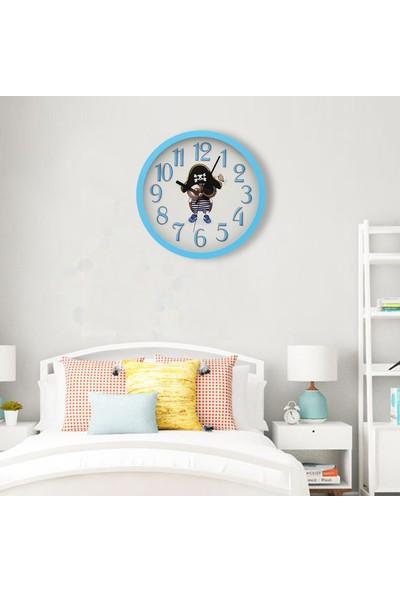 Muyi̇ka Pirata Açık Mavi Çerçeveli Çocuk Odası Duvar Saati 30 cm