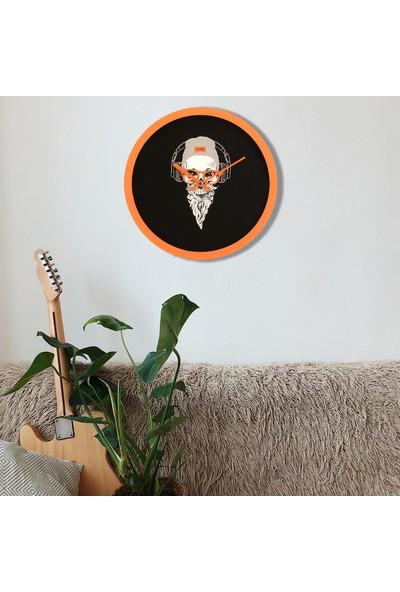 Muyi̇ka Secco Testa Turuncu Çerçeve Siyah Zemin Kuru Kafa 30 cm Duvar Saati