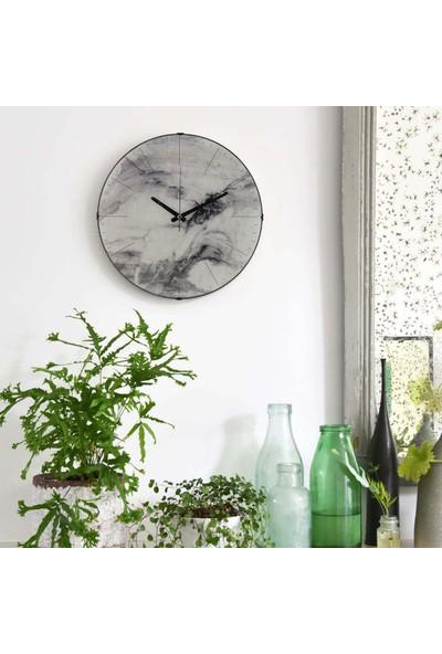 Muyi̇ka Marmo Bianco Oval Ön Kısım Beyaz Mermer Görünümlü 36 cm Duvar Saati