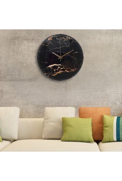 Muyi̇ka Marmopi Oval Ön Kısım Siyah Mermer Görünümlü 36 cm Duvar Saati