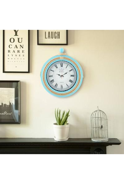 Muyi̇ka Ahşap Halatlı Mavi Duvar Saati Roma Rakamlı 50 cm