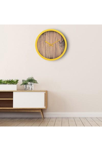 Muyi̇ka Gialla Sarı Çerçeve Kahve Zemin 30 cm Duvar Saati