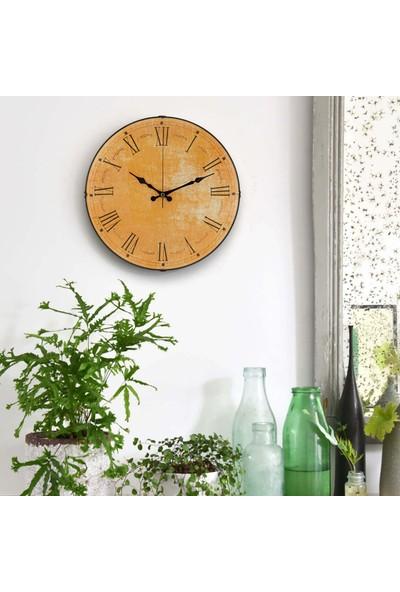 Muyi̇ka Giallo Oval Ön Kısım Sarı Eskitme Roma Rakamlı 36 cm Duvar Saati