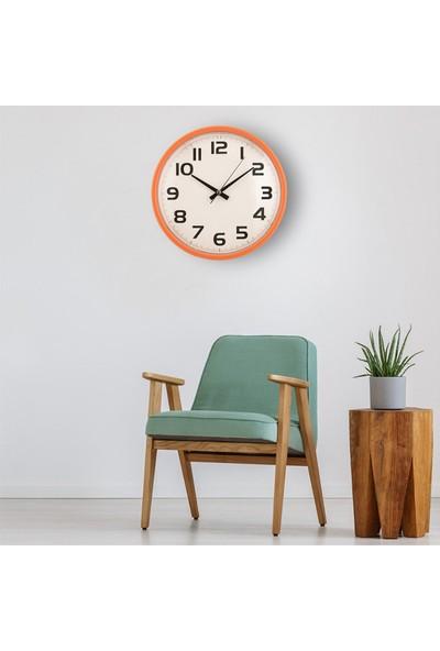 Muyi̇ka Padre Turuncu Çerçeveli Beyaz Zemin Rakamlı 30 cm Duvar Saati