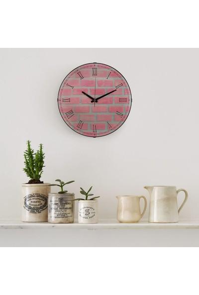 Muyi̇ka Mattone Rosa Oval Ön Kısım Pembe Duvar Desenli 36 cm Duvar Saati