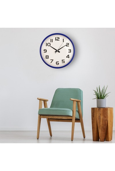 Muyi̇ka Kolle Mavi Çerçeveli Beyaz Zemin Rakamlı 30 cm Duvar Saati