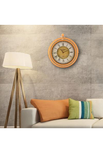 Muyi̇ka Ahşap Halatlı Turuncu Duvar Saati Roma Rakamlı 50 cm