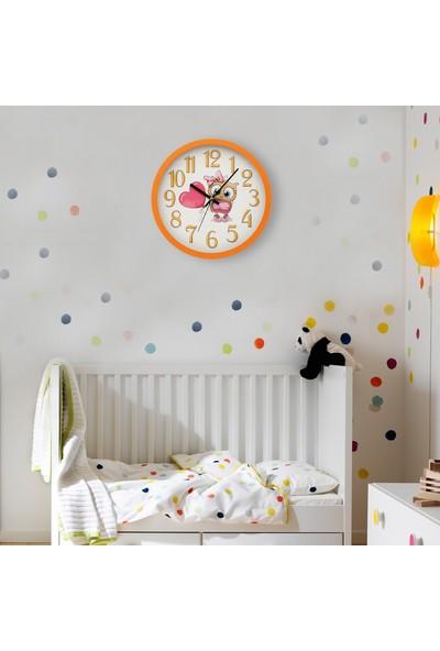 Muyi̇ka Del Cuore Turuncu Çerçeveli Çocuk Odası Duvar Saati 30 cm