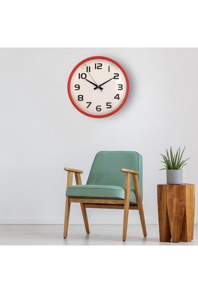 Muyi̇ka Mele Kırmızı Çerçeveli Beyaz Zemin Rakamlı 30 cm Duvar Saati