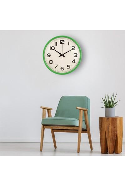 Muyi̇ka Susine Yeşil Çerçeveli Beyaz Zemin Rakamlı 30 cm Duvar Saati