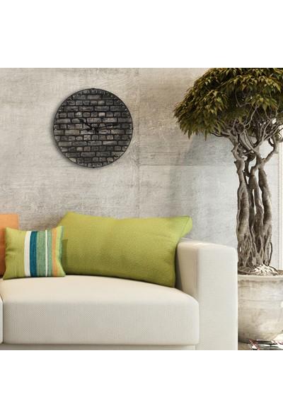 Muyi̇ka Muro Oval Ön Kisim Gri Tuğla Desenli 36 cm Duvar Saati