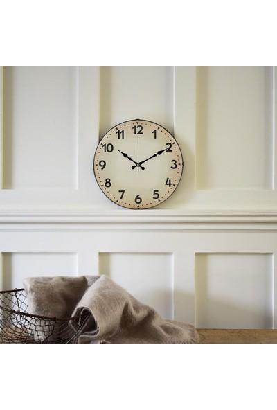 Muyi̇ka Crema Cifre Oval Ön Kısım Krem Klasik 36 cm Duvar Saati