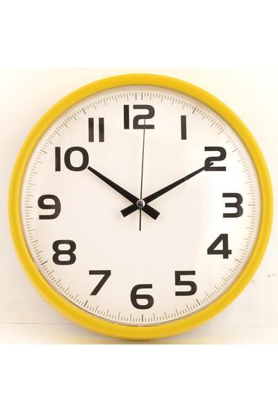 Muyi̇ka Madre Sarı Çerçeveli Beyaz Zemin Rakamlı 30 cm Duvar Saati