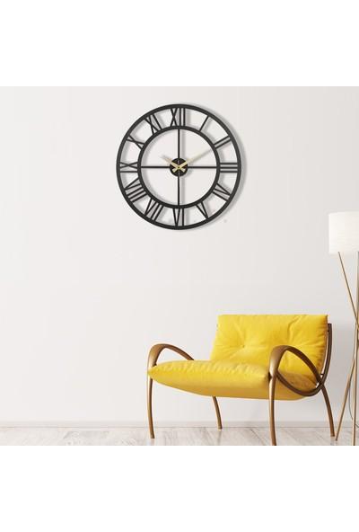 Muyi̇ka Roma Rakamlı Metal Siyah Duvar Saati 50 x 50 cm