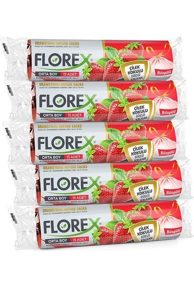 Florex Büzgülü Çilek Kokulu Orta Boy Çöp Poşeti 55X60 cm 5 Rulo