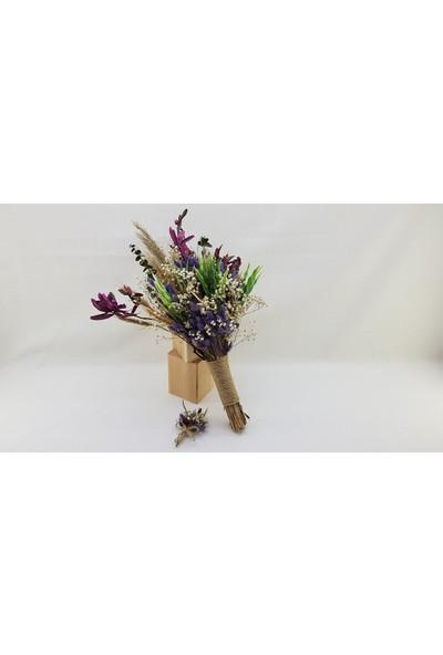 Naciden Mor Naturel Gelin Buketi ( Morun Doğal Rengi ve Yaka Çiçeği )