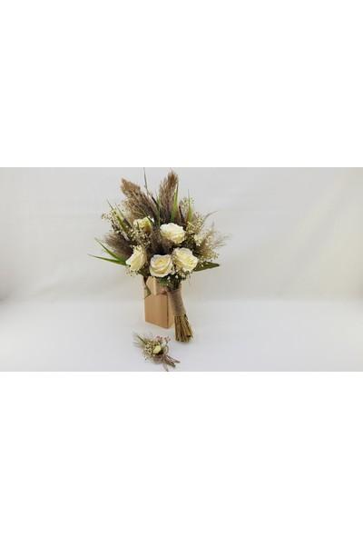 Naciden Gelin Buketi Beyaz Güllerle Doğallığın Birleşimi ve Yaka Çiçeği
