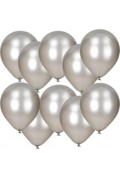 Tatlı Günler Metali̇k Gümüş Gri̇ Balon 10 lu